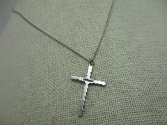 "Vintage Sterling Silver Marcasite Cross 18"" Necklace, 1"" cross, 2.65 grams"