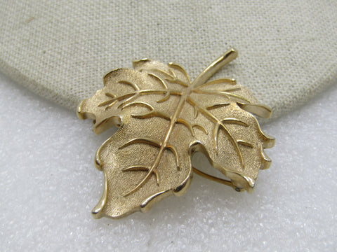 Vintage Crown Trifari Leaf Brooch, Gold Tone, Textured & Shiny, 1960's-1970's, 2.25""