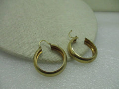 "Vintage 10kt Solid Yellow Gold 7.5mm Wide Hoop Pierced Earrings, 1.25"", 6.74 gr., signed JMS"