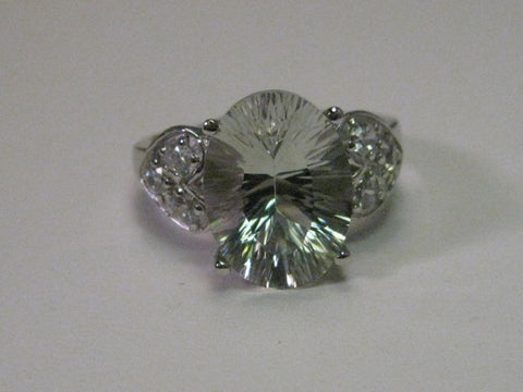 Sterling Silver Large CZ Statement Ring with Heart Side Panels, size 8