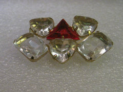 Vintage Brooch, Clear & Red Heart, Triangular/Rectangular  Stones - 1980's.  Gold tone