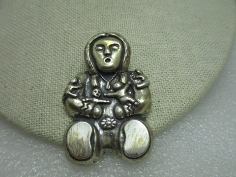 "Sterling Silver Pueblo Indian Storyteller Brooch, 2"", Mexico/Southwestern, signed BW, 25.74 grams"