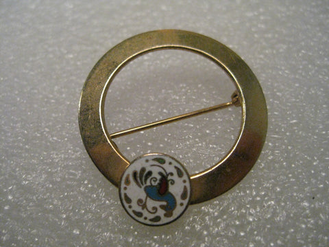 Vintage Brooch, Cloisonne Distelfink Circle Brooch, Open Center, Gold tone, 1960s.