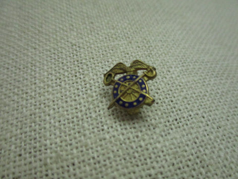 Vintage Sterling U.S. Army Quartermaster Enameled Eagle/Key/Sword Lapel Pin, 1/20 10kt gold