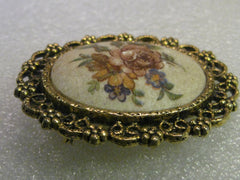 Vintage Brooch & Pendant Combination, Floral Cameo Style - Decorative Gold Tone Ornate Frame, 2.5""