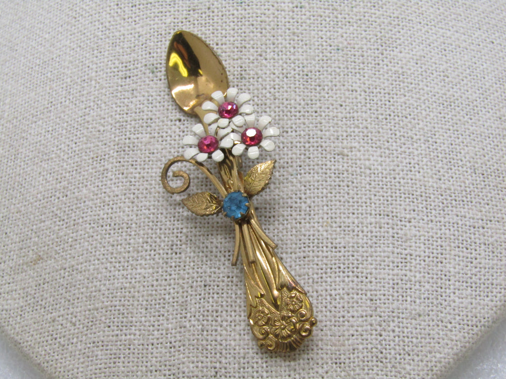 0d6c987bd41 Vintage Coro Floral Spoon Brooch, Enameled with Rhinestones, 1950's, Gold  Tone