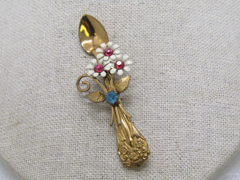 Vintage Coro Floral Spoon Brooch, Enameled with Rhinestones, 1950's, Gold Tone