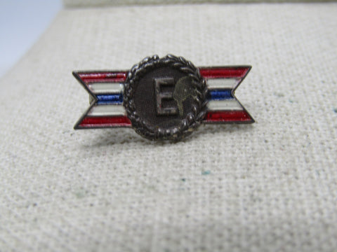 Vintage Sterling WWII Production Award. Army/Navy, Pin/Medal, Sterling Silver, Enameled,  2.56 Gr.