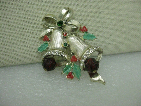 "Vintage Gold Tone Christmas Bells Brooch, Enamel Accents, 1960's.  2"", Rhinestone Accents"