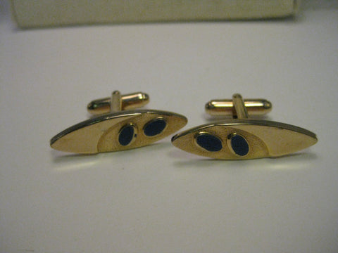 Vintage Gold Tone  Art Deco Style Cuff Links with Blue Enamel Accents, signed ohnson, mid-century