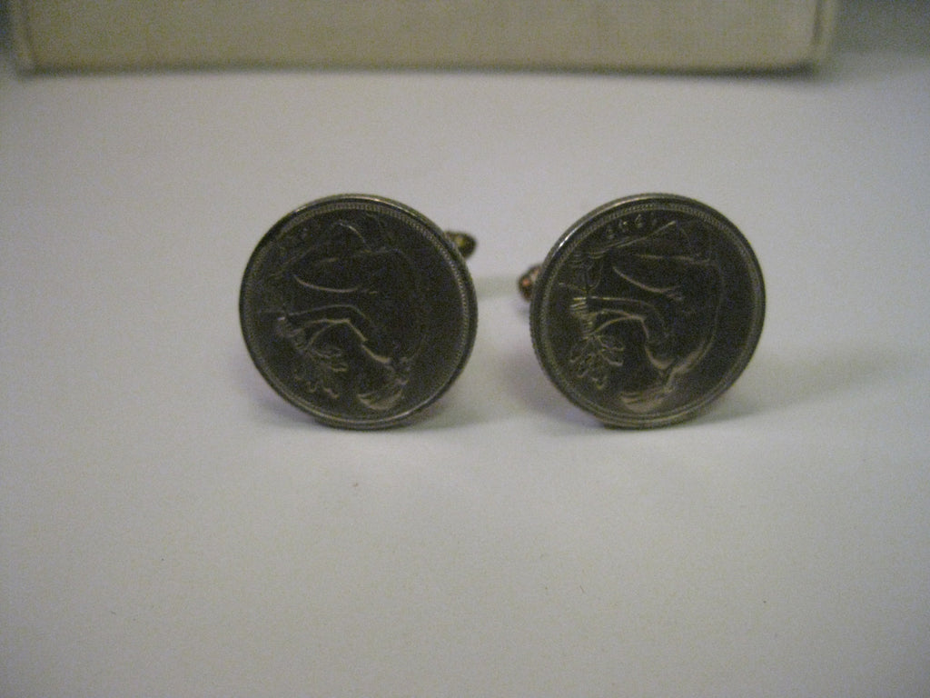 Vintage 1949 German Coin Cuff Links,  Bank Deutcher Lander Pfenning 50