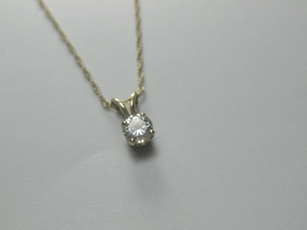 "14kt Diamond Solitaire Necklace, .33 ctw, 15"", 1.12 gr. Signed M"