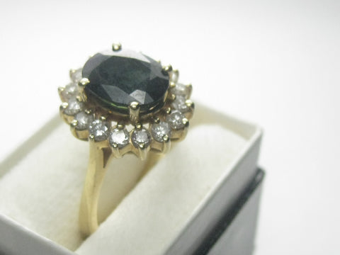 14kt Deep Blue Spinel Diamond Ring, Halo, Sz. 6, 4.89 Gr.