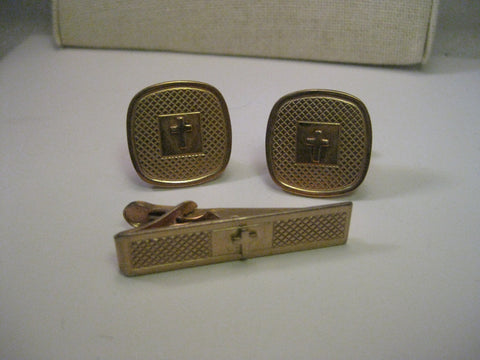 Vintage Gold Tone Cross Cuff Links & Tie Bar, Mid-Century