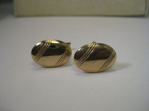 Vintage Gold Tone Art Deco Style Oval Cuff Links, 3/4""
