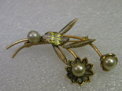 "Damascene Floral Brooch, Faux Pearls, Flowers & Stems, 2.25"" Long - vintage jewelry"