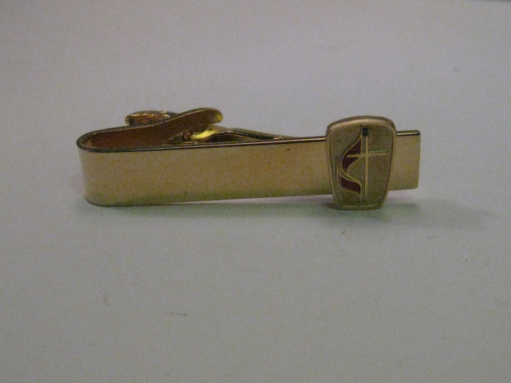 Vintage Gold Tone  Cross and Red Enamel Flame Methodist Tie Clasp, signed Robbins Co., Attleboro, 1.5""