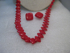 "Vintage Trifari Red Lucite Necklace Earrings Set, 1960's-1970's, 28"", Square links"