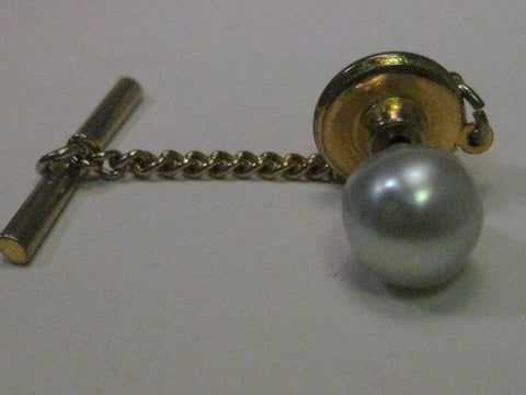 Vintage Gold Tone Tahitian Baroque Pearl Tie Tack with chain and bar, Pale Silvery Blue, 8.5 mm