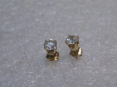 14kt Gold CZ Stud Earrings, .25 CTW each