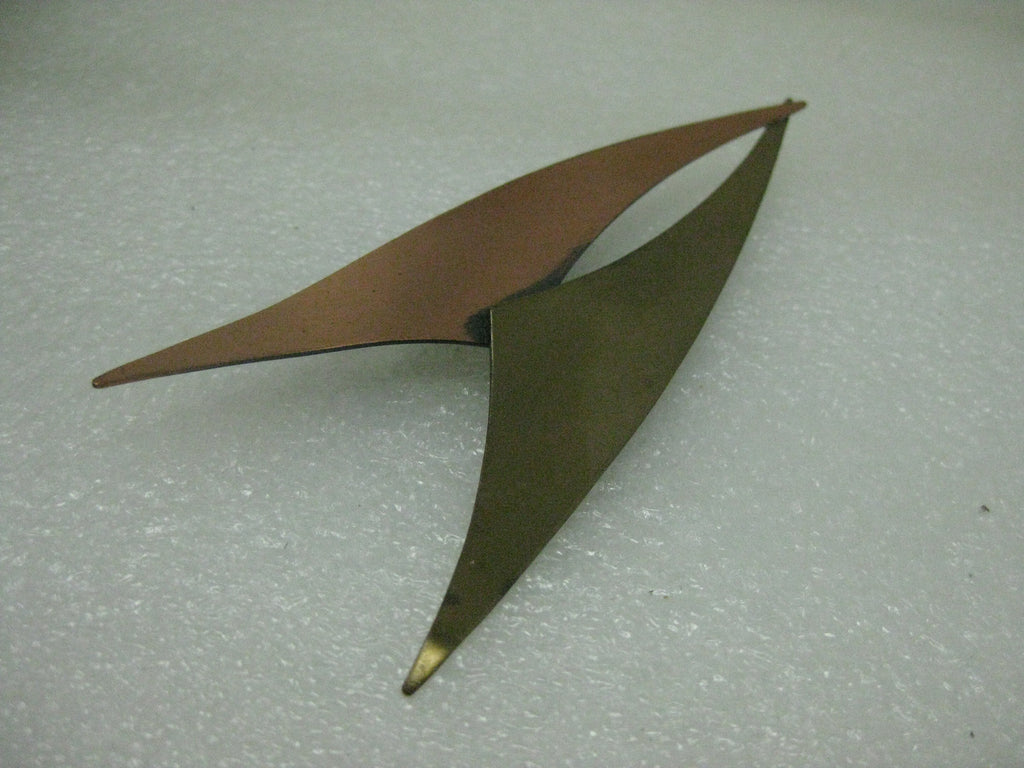 Vintage Abstract Copper & Brass Brooch, 1940's, signed Kim, Star-Trekish 4""