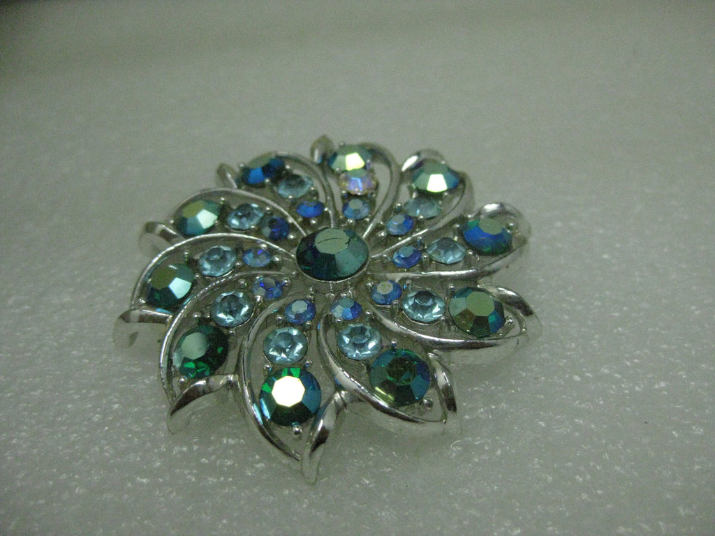 "Vintage Silver Tone Spiral Rhinestone Brooch, Shades of Blue & Teal, 2"", Mid-Century"