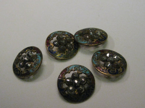 Vintage Set of 5 Champleve Round Cut-Out Brass Buttons with Marcasite Centers, 15mm, early 1900's