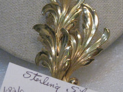 "1940's Sterling Forstner Leaf Brooch, Vermeil, Layered, 3.5"", 16.01 Grams"