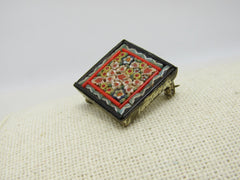 "Vintage Floral Micro Mosaic Brooch, 7/8"" square, Italy, 1950's-1960's"