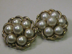 Vintage Gold tone Coro Gold Tone Faux Pearl Clip Earrings