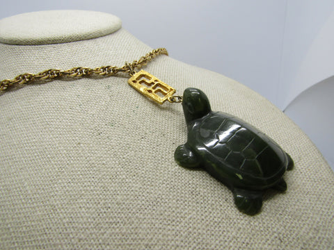"Vintage Carved Turtle Asian Themed Necklace, 23"", Gold Tone, 1970's-1980's"