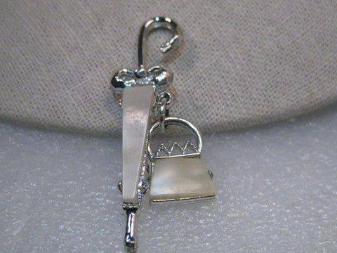 Vintage Silver Tone Umbrella & Dangle Purse Brooch, mother-of-pearl, very 1950's-60's