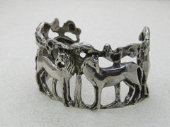 "Vintage Sterling Silver Horse & Trees Cuff Bracelet, 6.5"", Appx. 63.50 gr."