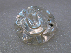 Carved Mother-of-Pearl Tulip Brooch, Cut-Out Design, 1950's, signed Bethlehem, 1.25""