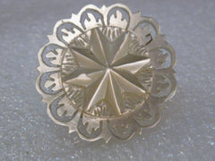 Vintage Carved Mother-of-Pearl Star & Filigree Brooch, Cut-Out Design, 1950's, Unsigned,  1.25""