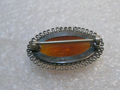 "Vintage Silver Dragon's Breath Brooch, Oval, Filigree Framed, 1930's 1-1/8"", 6 grams"