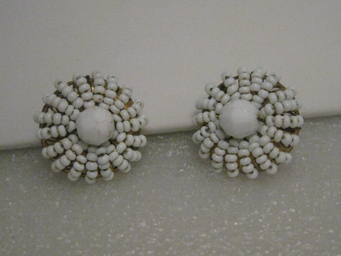"Vintage Eugene signed White Seed Beaded Clip Earrings, 1940's, 1"", brass clip"