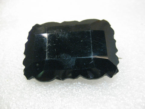 "1800's French Jet Faceted Mourning Brooch, 1.75"" by 1.25"","