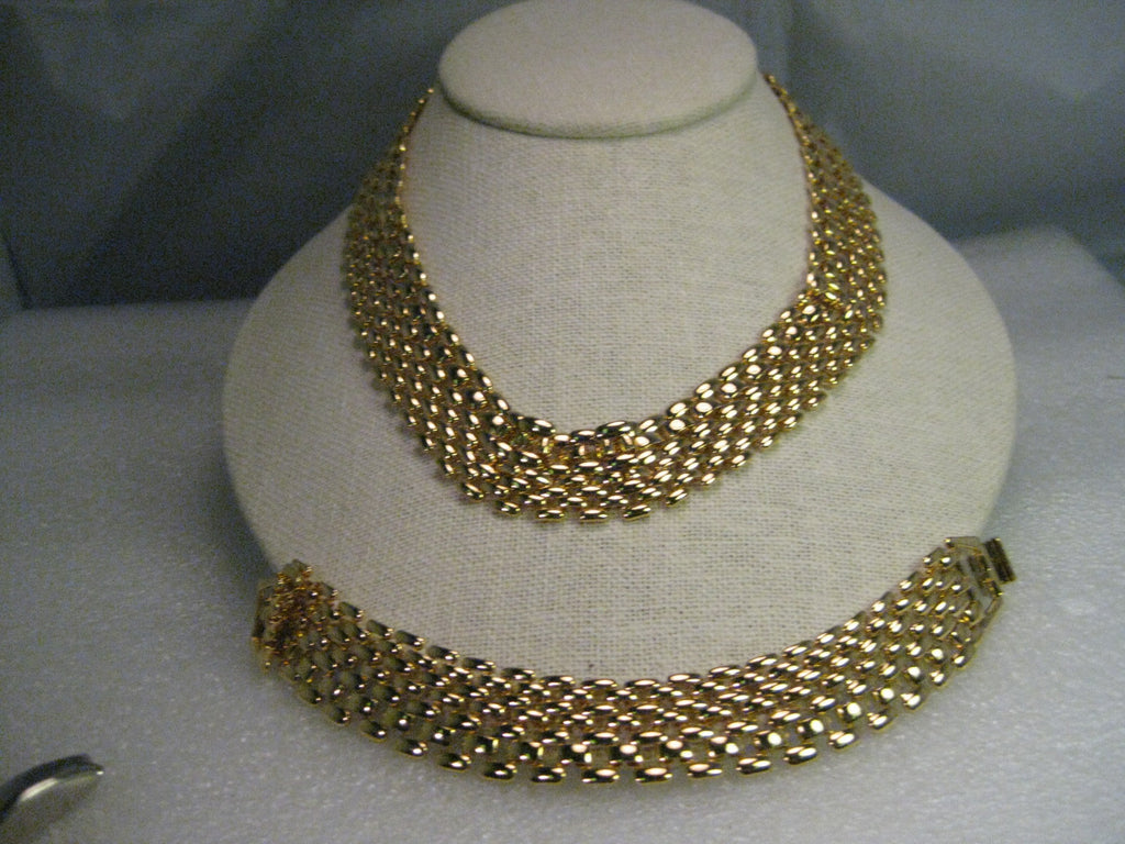 "Vintage Necklace & Bracelet Set, Gold tone, Woven Design, 3/4"" wide, Premier Design, 17.5"""