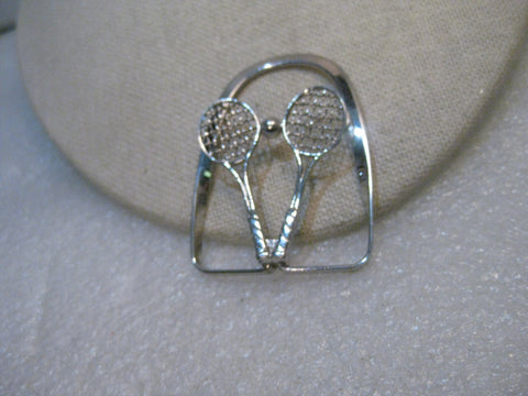 Vintage Sterling Tennis Money Clip, Dolan Bullock, 11.14 grams. Double Racket w/ball, 2""