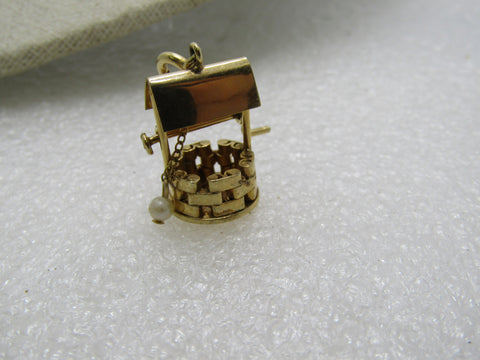 Vintage 12kt G.F. Wishing Well Charm, With Pearl, Articulated, Spring Clasp, 1.25""