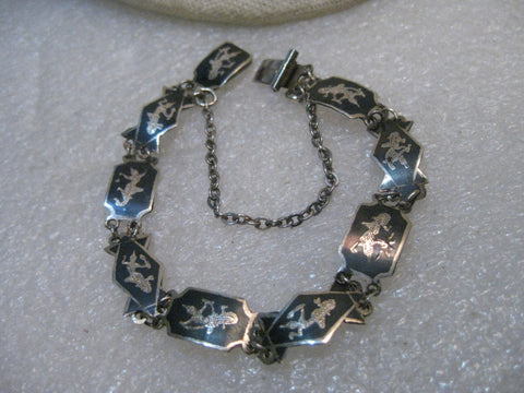 "Vintage Sterling Silver Siam Bracelet, Black enameled, 7"", 8.6mm wide, safety chain"