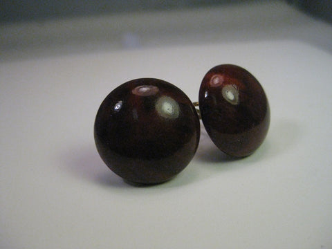 Vintage Earrings, 1950's Wood Button Domed Gold Tone Screwback Earrings, 3/4""