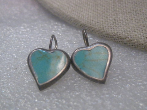 "Vintage Sterling Silver Inlaid Turquoise Heart Pierced Earrings, 3/4"", Mexico,  signed ATI"