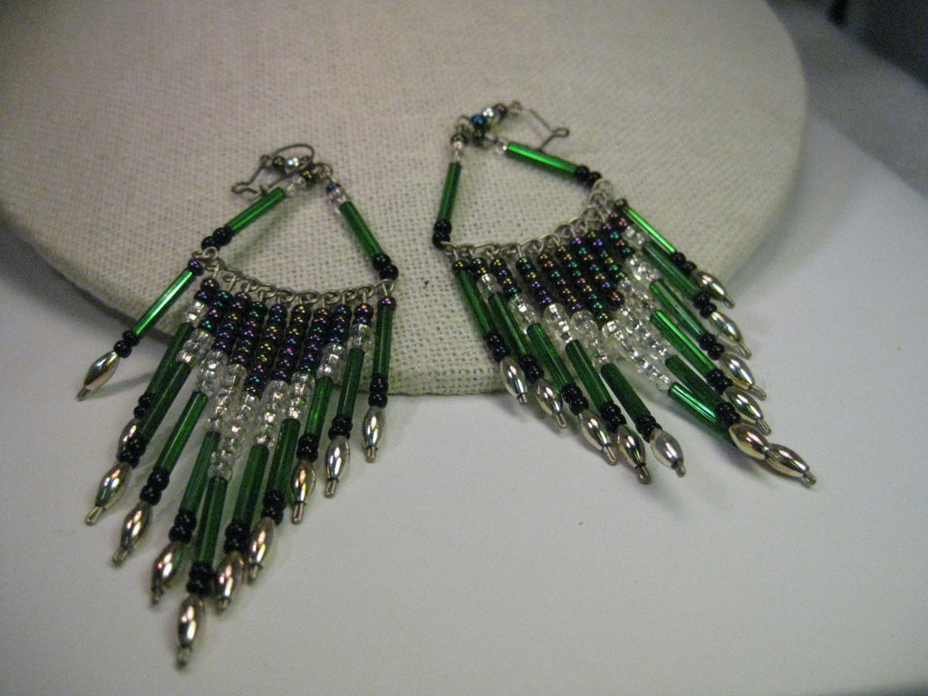 Vintage Earrings, Boho  Long Green Glass Straw and Purple Glass Beaded Chandelier Pierced Earrings
