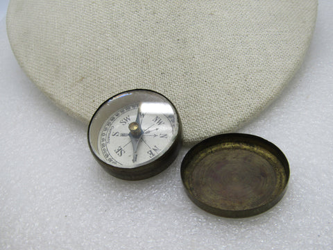 "Vintage German Brass Pocket Compass, (Brass Tin with Lid)  1.5"", 1940's-1950's"