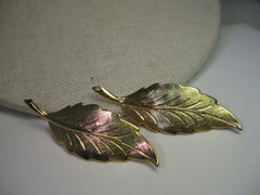 "Vintage Gold Tone Leaf Earrings, Pierced, 2"" long, textured and shiny surfaces"
