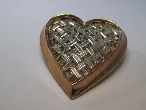 Vintage Gold Tone Heart Brooch with Basketweave of  Rhinestone Baguettes, 1.75""