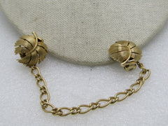 "Vintage Trifari Leaf Sweater Clips with Chain, 7"", 1960's, Gold Tone"