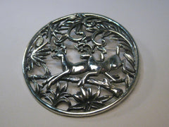 Vintage Sarah Coventry Deer in the Woods Brooch/Pendant Combination, Silver Tone